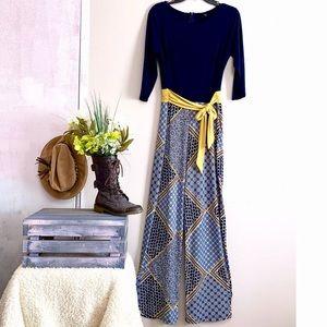 Enfocus Studio Blue Yellow 3/4 Sleeve Jumpsuit
